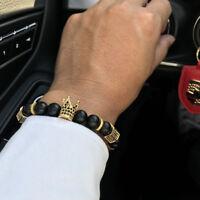Hot Men Micro Pave CZ King Crown Charm Matte Stone Leather Nail Bracelet Jewelry