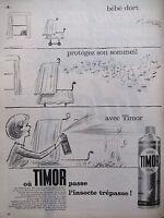 PUBLICITÉ DE PRESSE 1962 LA BOMBE INSECTICIDE TIMOR - WATRIN - ADVERTISING