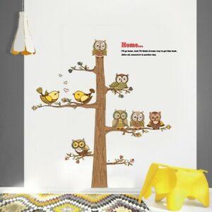 OWLS BIRD TREE ANIMALS MURAL EXTRA LARGE WALL STICKER NURSERY/KIDS ROOM DECAL
