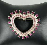 Ladies Vintage Silver Tone Heart Pin with hot Pink Crystals Brooch.