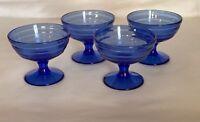 4 Hazel Atlas Cobalt Blue Moderntone Sherbets