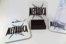 Metalica Metal Coasters. Set of 4 with Mahogany Stand. Free Shipping.