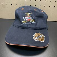Harley Davidson Miller Genuine Draft Baseball Black/ Orange Hat - Free Shipping!