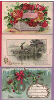 GREETINGS LOT 12 VINTAGE POSTCARDS BIRTHDAY BEST WISHES MONTHS NICE!