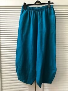 Bryn Walker 100% Linen Oliver Pants, Islay Blue, Lantern Silhouette, Medium