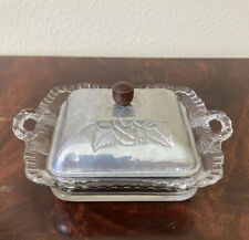 E10596 Vintage Wrought Farberware Glass Divided Dish with Aluminum Lid