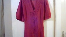 Pure Silk Deep Pink George V Neck Blouse sz40. Relaxed and Sexy!