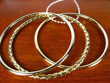 H1 Gold Tone Triple Bangle BRACELET Set Textured NEW