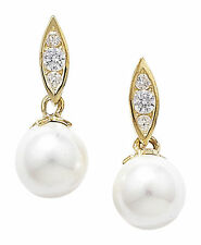 Unbranded Drop/Dangle Yellow Gold Fine Pearl Earrings