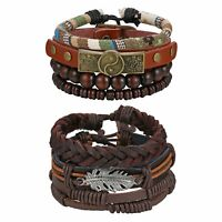 2 Sets Multi-layer Leather Rope Gossip Feather Beaded Bracelet Cuff Wristband