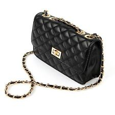 Women Quilted Mini Handbag Genuine Cowhide Leather Shoulder Crossbody Messenger