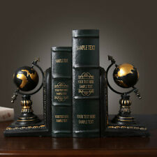 1 Pair of Globe Shaped Bookends Vintage Book Stand Home Offce Decor Good Gift