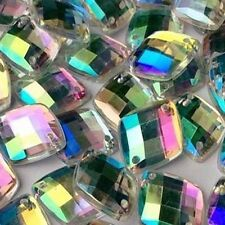 NEW! 50 pcs x Sew On 13x16 mm Acrylic Rhinestones Clear AB Color Square Shape
