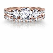14k Rose Gold Plated Round CZ Engagement Wedding Silver Ring Set