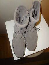 New in Box Minnetonka Gray Double Fringe Suede Short Ankle Booties 7.5