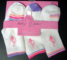 BABY PHAT Girls Stretch Socks-3 Pairs-White w/Lavendar, Rose, Coral-Size 2-4-NIP