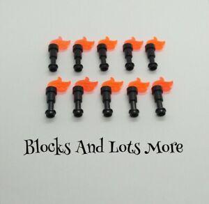 NEW LEGO 10 x Black Torches & Dark Orange Flames Accessories Parts 64644 / 64647