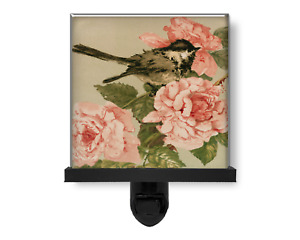 Pretty Bird with Pink Flowers Rose Vintage Style Nature Glass Photo Night Light
