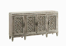 "Modern Farmhouse 4 Door Credenza 70""W Distressed Seasoned Wood Finish"
