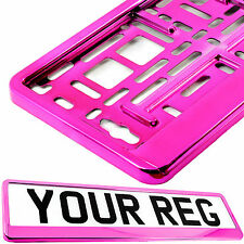 SUPER CHROME PINK GLOSS Car Number Plate Surround Holder FOR ANY CAR VAN TRAILER