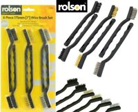 Rolson 6PC Hand Wire Brush Set 175mm Long With Nylon, Brass & Steel Bristles