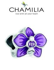 Genuine CHAMILIA 925 silver & enamel lilac SLIPPER ORCHID flower charm bead