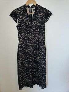 GUESS By Marciano Size 2 Black Lace Dress - Lined Fitted Body-con