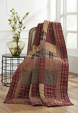 Quilted Throw Blanket Rutherford Red Plaid Patchwork Country Quilt FREE SHIPPING