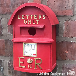 Novelty old red Letter Post Mail box bird house chunky resin easy clean and hang