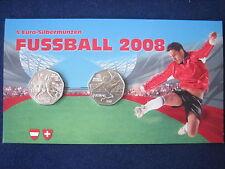 """MDS ÖSTERREICH 2 x 5 EURO 2008 Hgh """"FUSSBALL EM 2008"""" IM FOLDER, SILBER   #D3.1"""