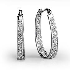 Rhodium Plated Round Leverback Costume Earrings
