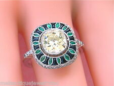 ART DECO 1.83ct CUSHION YELLOW DIAMOND EMERALD ONYX COCKTAIL ENGAGEMENT RING