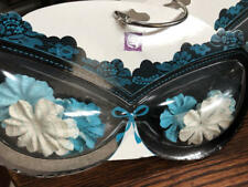 "Prima Bra Flower Embellishment, TEAL/Blue,white 1"" set of 20 flowers"