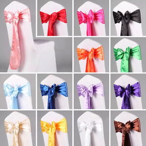 "10PCS Satin Chair Sash Silk Bow 6x108"" Event Wedding Party Venue Decor"