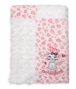 Pink Kitty Cat Heart Baby Girl Blanket Quiltex Fleece NEW Baby Shower Gift Purr