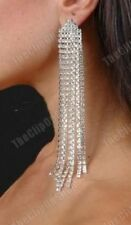 Rhinestone Silver Plated Clip - On Costume Earrings
