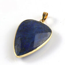 Genuine Teardrop Faceted Lapis Lazuli Gems Yellow Gold Plated Necklace Pendants