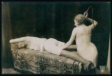 French nude butt Biederer Whip Lesbian punishment original c1925 photo postcard