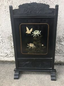 JAPANESE  WOOD HAND PAINTED SCREEN