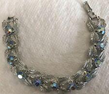 Vintage Coro Aurora Borealis Rhinestone Leaf Statement Bracelet Silver 1960s VTG