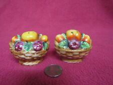 Vintage Wicker Fruit Basket Salt and Pepper Shakers Ceramic 76