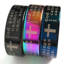 Hot 20pcs Color Mix Religious Band 8MM Ring Serenity Prayer Unisex Jesus Jewelry