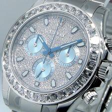 ROLEX DAYTONA 116576 PLATINUM COSMOGRAPH DIAMOND DIAL BAGUETTE BEZEL ICE BLUE