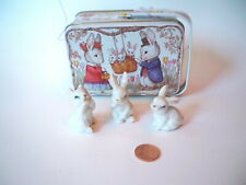Rabbit Ceramic Figurines Animals and nice tin box Easter