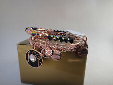 Alex and Ani JOY Set of 3, Rose Bangles w/Black Enamel & Gem Expanding Bangles