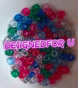 """""""3 FOR 2"""" 100 x Classic Mix Sparkle 9x6mm Barrel Shape Top Quality Pony Beads"""