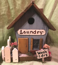 Vintage Handcrafted Solid Wood Bird House (Laundry) - 7�W x 8.25�Tall x 6.5�D