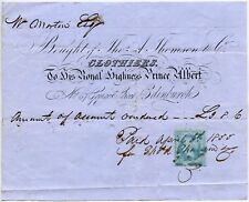 GB 1855 RECEIPT + REVENUE THOMSON BY APPOINTMENT to PRINCE ALBERT