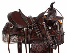 16 Western Saddle Pleasure Trail Antique Brown Barrel Leather Horse Tack Set