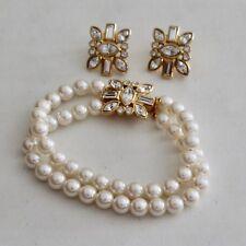 1996 Avon Precious Luxury Double Strand Pearl Bracelet & Rhinestone Earrings Set